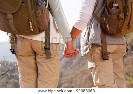 back view of couple holding hands hiking in mountain