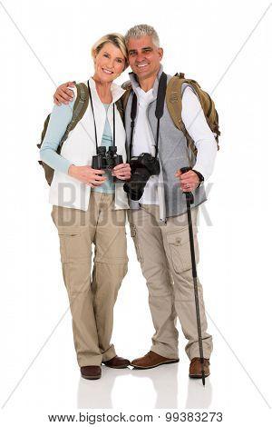 lovely senior hiking couple hugging isolated on white