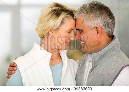 romantic middle aged couple hugging with eyes closed