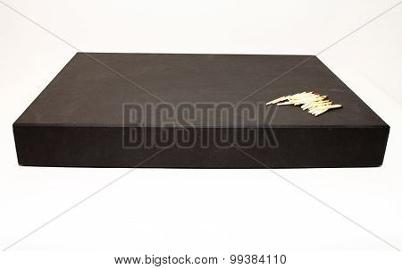 Big black business present box with matches on it
