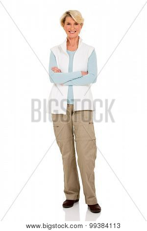 pretty senior woman with arms crossed isolated on white background
