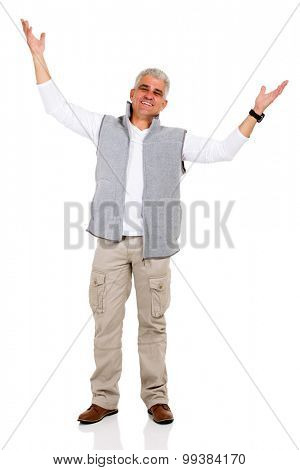 happy middle aged man with arms open