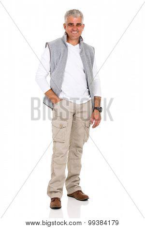 happy senior man posing on white background