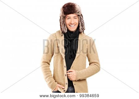 Stylish young man with winter hat isolated on white background
