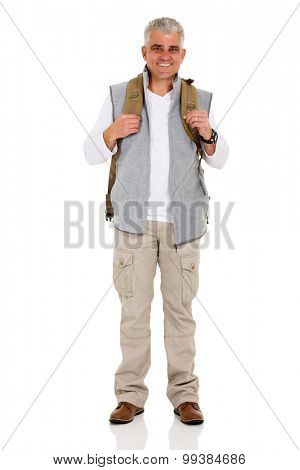 smiling middle aged hiker with backpack on white background