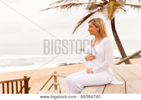 happy pregnant woman on the beach