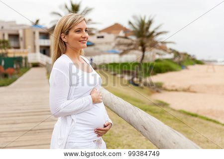 attractive pregnant woman at beach in the morning