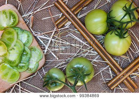 Evergreen Tomatoes On Textile Background