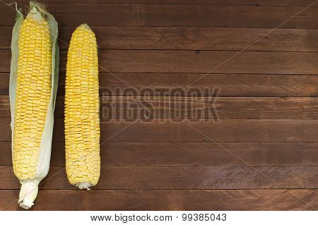 Grains Of Ripe Corn On Wooden Background, Copy Space