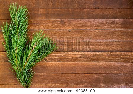 Fur-tree Branch On Wooden Background, Copy Space