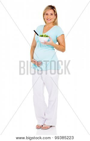 pretty pregnant woman on diet eating fresh salad on white background