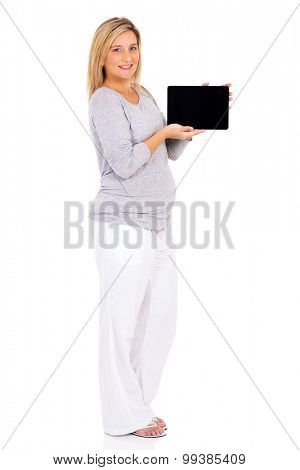 beautiful young pregnant woman presenting tablet pc isolated on white