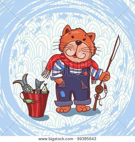 Funny Cat Fisherman