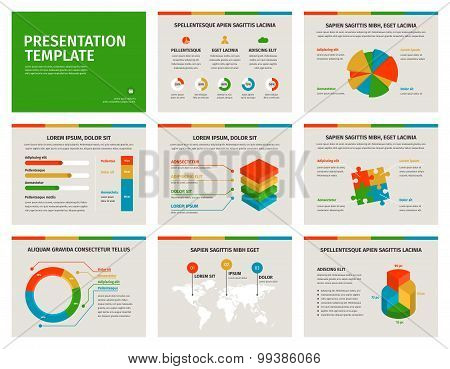 Set of Presentation Template. 3D infographic elements.