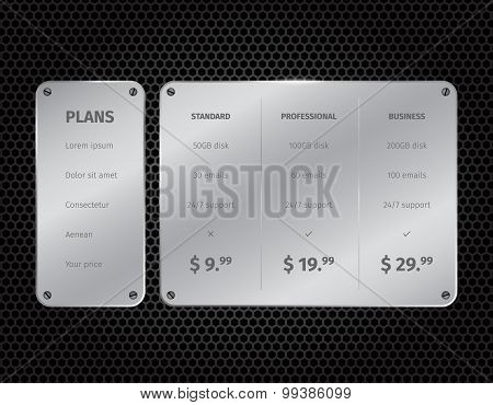 Silver modern pricing table with on dark background
