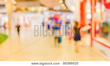 Blur Image Of Shopping Mall For Background Usage
