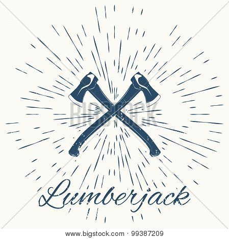 crossed axes and vintage sun burst frame. lumberjack emblem