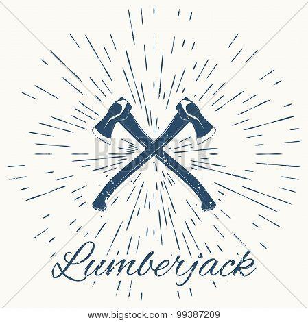 crossed axes and vintage sun burst frame. lumberjack emblem