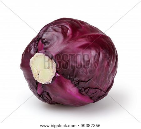 Red Cabbage Isolated On White Background With Clipping Path