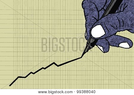 Male Hand Drawing Graph Of Growth