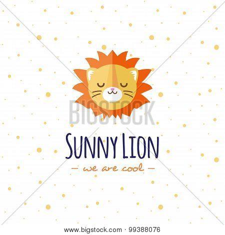 Vector cartoon lion head logo. Flat logotype.