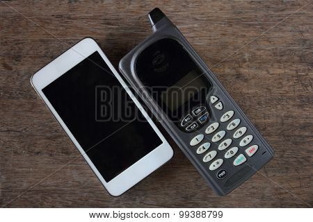 Obsolete telephone and smartphone