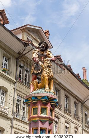 Statue Of The Samson Fountain In Bern, Switzerland