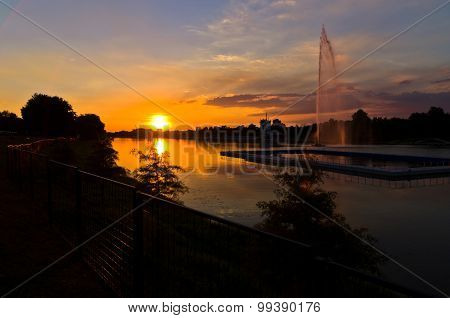 Summertime sunset at Ada lake in Belgrade