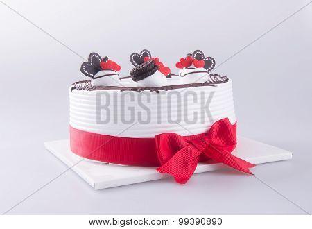 Cake, Birthday Ice-cream Cake On The Background