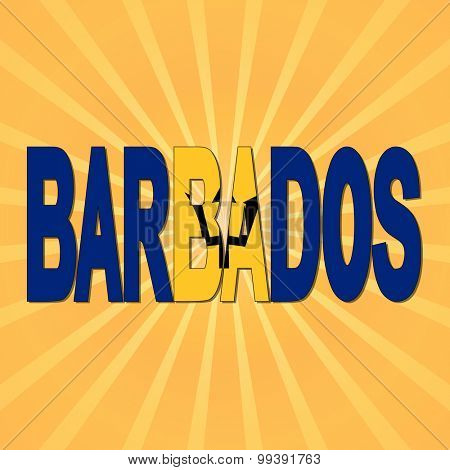 Barbados flag text with sunburst illustration