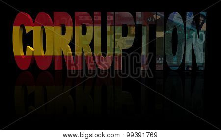 Corruption text with Spanish flag and currency illustration