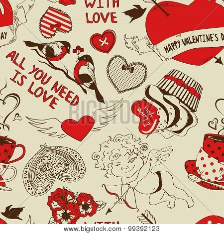 Retro Seamless Pattern With Funny Cartoon Love Elements