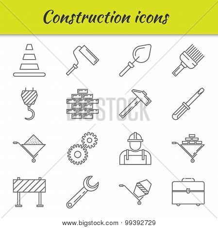 Outline icons set. Construction