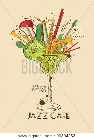 Jazz Cafe Concept With Musical Instruments In A Cocktail Glass