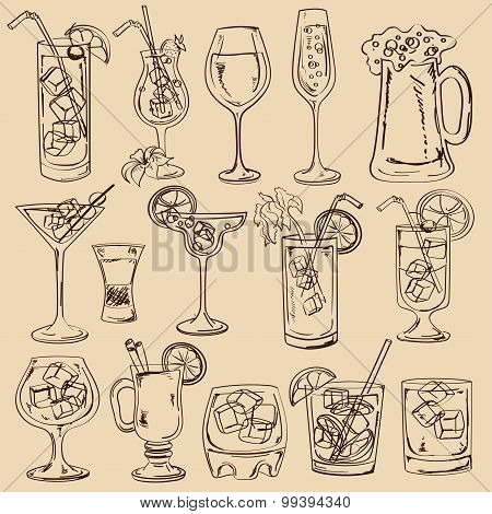 Set Of Isolated Sketch Cocktails.