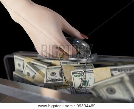 money in case and woman hand with wedding ring marriage of convenience concept