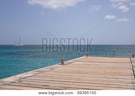 Martinique island sea and pier