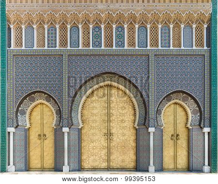 The Royal Palace Gate In Fes, Morocco