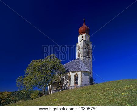 The Church St. Valentin At The Schlern Mountain Aerea