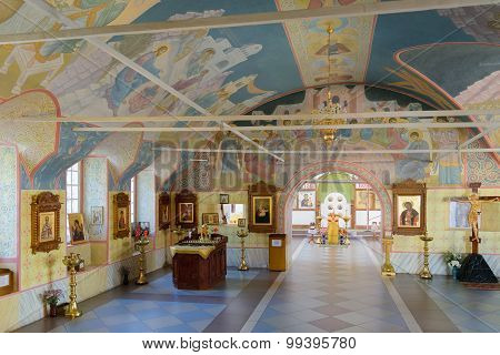 Halls For Worship With Pictures Of Biblical Themes On Walls And Ceilings Of Church