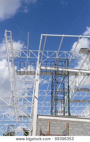 Steel Structure With Sky Background / Steel Structure / Steel Structure Under Construction