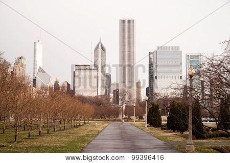 Spring Rains Grant Park Downtown City Center Chicago Illinois
