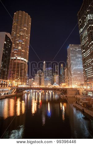Canal Under Dearborn Street Chicago Downtown City Skykine Condominiums
