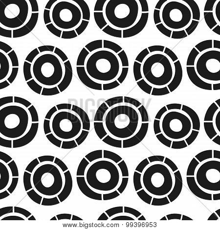 Vector hand drawn simple circles seamless pattern. Doodle style background.