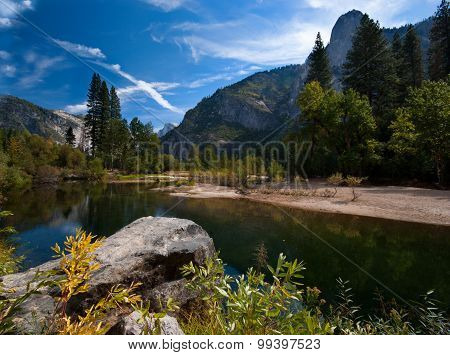 View on a river in Yosemite Valley, Yosemite National Park