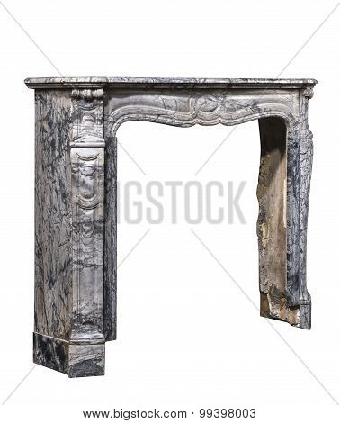 Fireplace Surround In Grey White Marble Antique Victorian Isolated