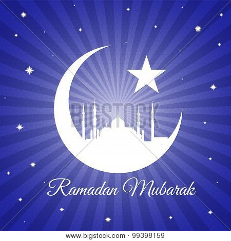 Ramadan mubarak - moon star and masjid on violet blue light vector background
