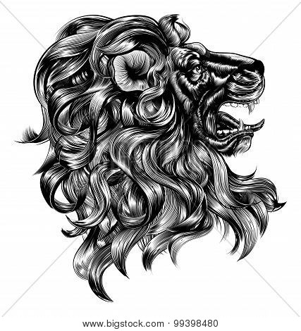 Vintage Woodblock Style Lion