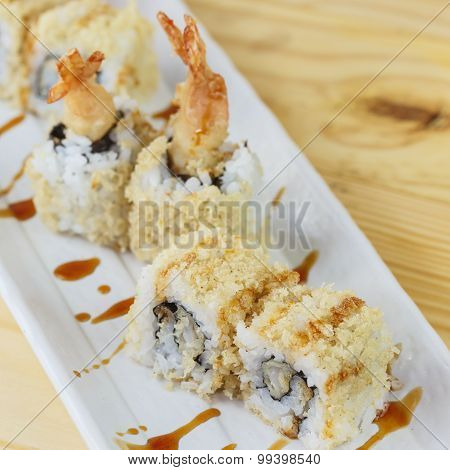 Traditional Japanese Food, Tempura (shrimp) Maki Sushi