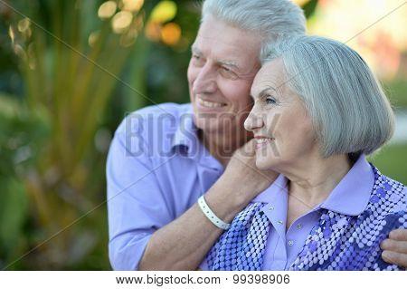 Senior couple at tropic  garden